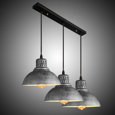 Industrial 3 Light Dome Shade Restoration Multi-Light Pendant For Bars