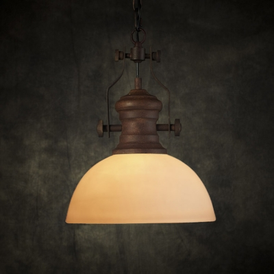 Industrial Style White Glass One Light Hanging Lamp in Antique Rust Finish