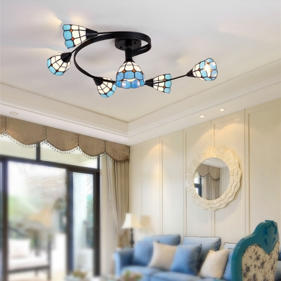Mediterranean Style 6-Bulb Ambient Light Semi Flush Mount Ceiling Fixture with Blue Grid Glass Shade