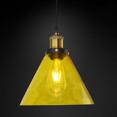 Modern Hanging Pendant 1 Light Cone Shape Glass for Bar Restaurant, in Brass