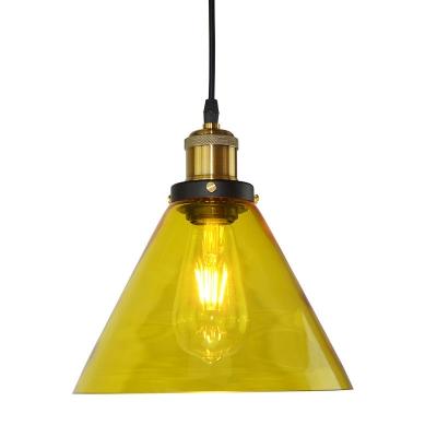 Modern Hanging Pendant 1 Light Cone Shape Glass for Bar Restaurant, in Brass, HL490290
