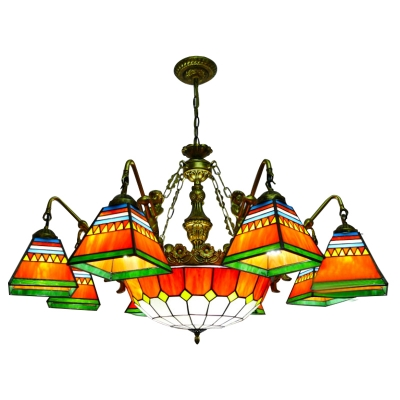 Multicolored Geometric Pattern Square Shade Mermaid Arm Chandelier with Orange Checkered Center Bowl
