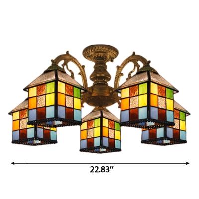 Multicolored Square House Shade Semi Flush Light in Bronze Finish for Restaurant Kids Room