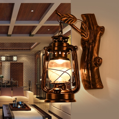 Nautical Style Lantern Wall Sconce with Glass Shade in Age Bronze for Hallway Foyer Balcony
