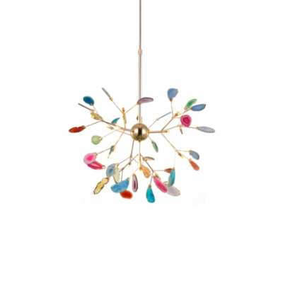 Novelty Colorful Chandelier 12/48/60W 4/16/20 Agate Firefly LED Chandeliers in Gold Finish for Kids Room Bedroom Restaurant