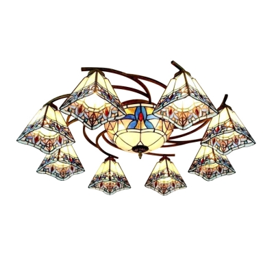 Simple Baroque Style Art Glass Pyramid Shade Ceiling Light in Distressed Bronze Finish