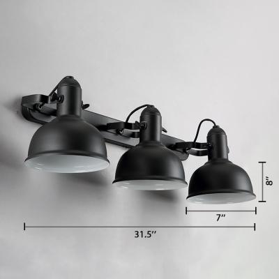 Vintage Bowl 3-Light Wall Sonce in Black Finish for Bathroom Bedside Kitchen