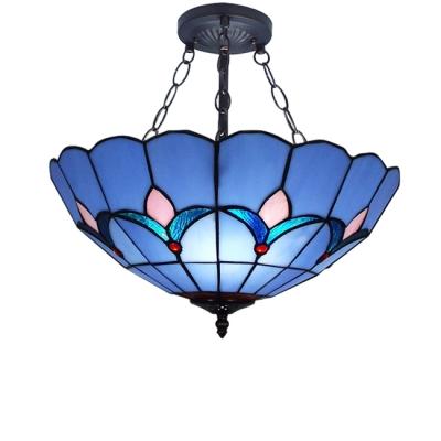 Dark Blue Flower Shade Tiffany Classic Hanging Pendant Light Fixture in Matte Black Finish