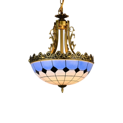 Mediterranean Style 2-Light Blue&White Bowl Shade Inverted Hanging Light with Gorgeous Gold Floral Rim