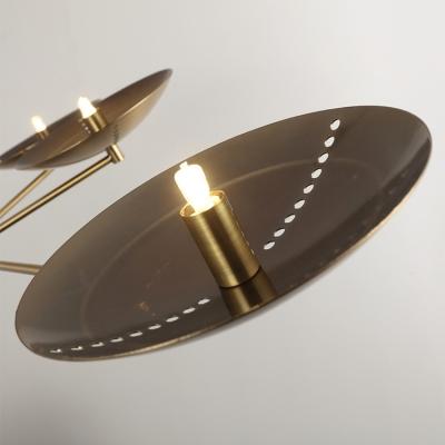 Modern Gold/Antique Brass LED Chandelier 30W 6 Light Indoor Large LED Chandelier in Metal Shade for Living Room Restaurant