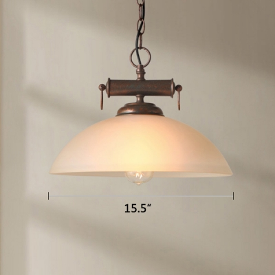 Vintage Style Hanging Pendant 1 Lighting with White Dome Shade for Dining Room Living Room