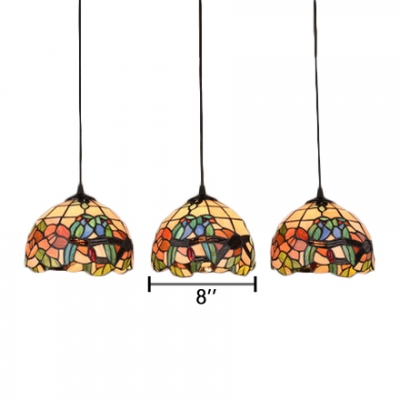 3 Lights Parrot Design Suspended Light Vintage Stained Glass Lighting Fixture in Multicolor
