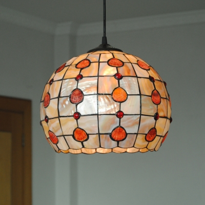 1 Light Orb Hanging Light Tiffany Style Stained Glass Suspended Lamp in Beige for Hallway