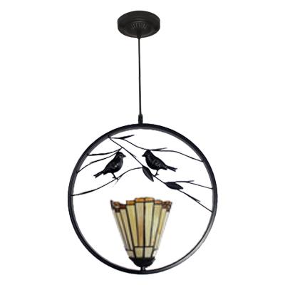 Craftsman Tiffany Geometric Drop Light Amber Glass 1 Bulb Lighting Fixture with 2 Birds