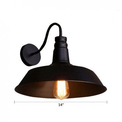 Curved Arm Wall Mount Fixture Loft Style Iron Single Light Accent Wall Sconce in Black