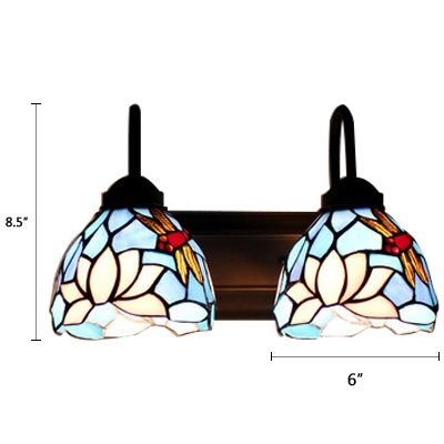 Dragonfly Wall Mount Light Tiffany Country Style Blue/White Glass 2 Light Wall Sconce