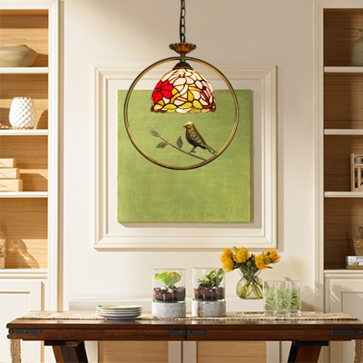 Floral Pendant Lamp with Bird Tiffany Stained Glass 1 Light Suspended Light in Multicolor