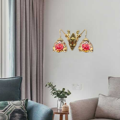 Mermaid Designed Two Light Red Peony Tiffany Sconce in Country Style