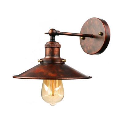 Mottled Copper 1 Light Barn LED Wall Sconce with Metal Plate Shade
