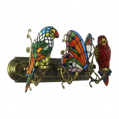 Parrot and Butterfly Wall Light Tiffany Style Stained Glass Triple Sconce Light in Multicolor