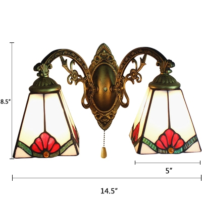 Pyramid Wall Mount Fixture Tiffany Style Stained Gl 2 Light Pull