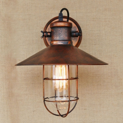 Rust Finish Wire Guard Wall Light Nautical Vintage Iron 1 Bulb Sconce Lighting for Balcony