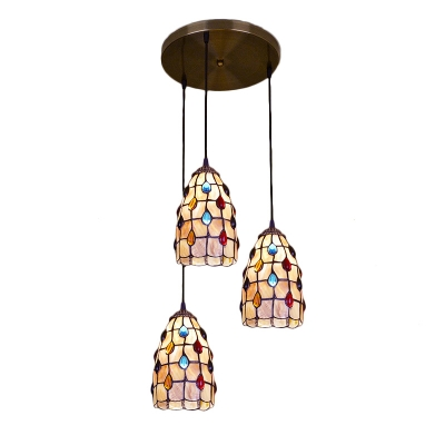 Shelly Jeweled Hanging Lamp Tiffany Style Triple Head Drop Ceiling Lighting for Porch