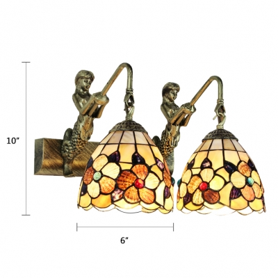 2 Heads Floral Wall Mount Fixture Tiffany Style Shell Handmade Wall Light Sconce in Multicolor