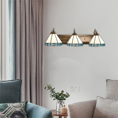 3 Heads Geometric Lighting Fixture Tiffany Style Blue Glass Wall Sconce for Sitting Room