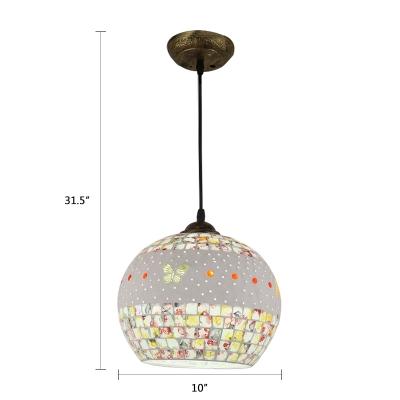 Contemporary Mosaic Pendant Lamp Glass Single Light Drop Ceiling Lighting in Bronze Finish