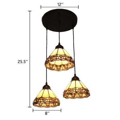 Adjustable 3 Heads Cone Hanging Light Tiffany Style Stained Glass Pendant Lamp in Beige