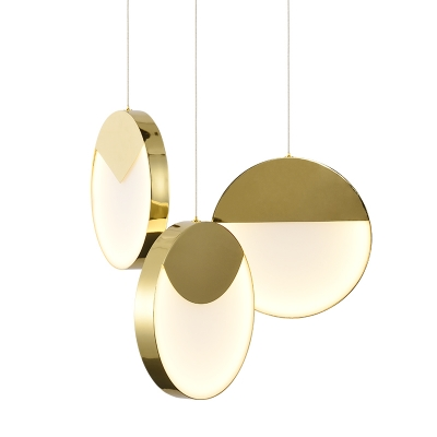Antique Brass Round Pendant Lighting Post Modern Metal and Acrylic LED Suspension Lamp