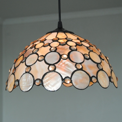 Beige Jeweled Hanging Light Tiffany Style Shelly Hand Made 1 Light Drop Light for Living Room