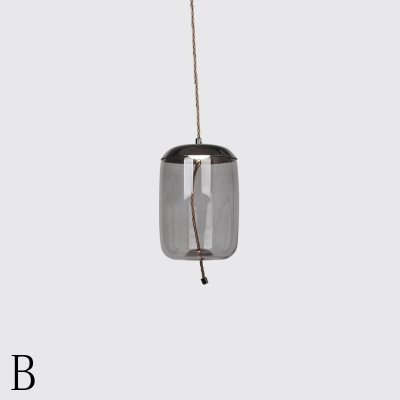 Black Nickel Finish Single Pendant Lamp Nordic Style Smoke Glass Shade Restaurant Hanging Lighting