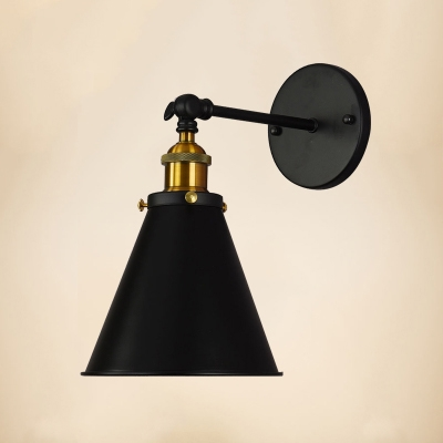 Brass Finish Cone Small Wall Light Vintage Iron 1 Head Sconce Lighting with Round Base, HL496116