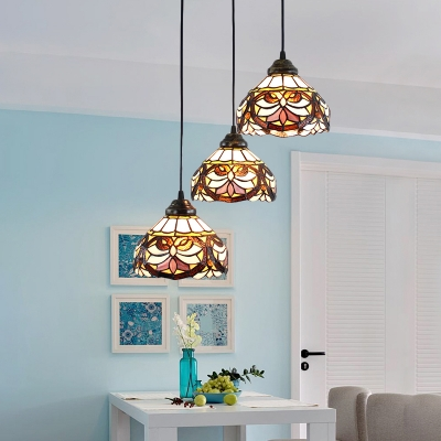 Multicolored Dome Pendant Light Victorian Vintage Stained Glass 3