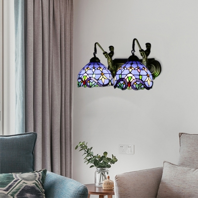 Navy Blue Armed Wall Sconce Victorian Style Stained Glass 2 Lights Wall Light Fixture