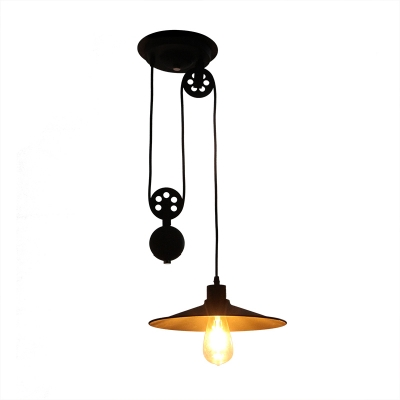 Railroad Shade Hanging Lamp Industrial Adjustable Steel Ceiling Light for Bedroom