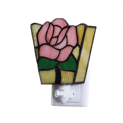 Tiffany Butterfly/Rose Wall Sconce Stained Glass Plug-in Night Light in Multicolor for Bedroom