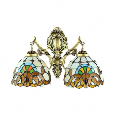 Tiffany Dome Shaped 2-Light Wall Sconce with Antique Brass Arm in Baroque Style, Multicolored