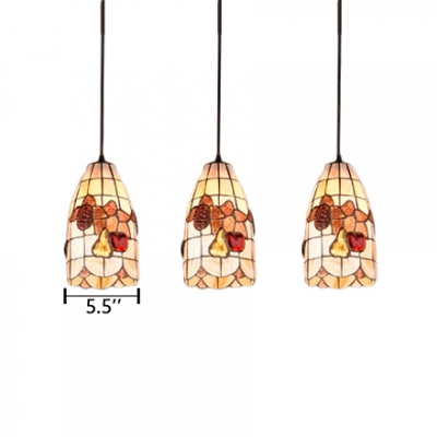 3 Lights Fruit Pattern Pendant Lamp Tiffany Style Shelly Lighting Fixture in Beige for Bedroom