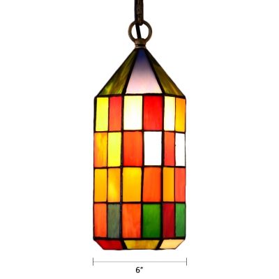 Checkered Pattern Hanging Lamp Tiffany Stained Glass 1 Light Drop Light in Multi Color