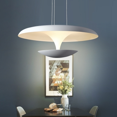 Acrylic Saucer LED Pendant Fixture Contemporary 1-Light Hanging Pendant Lights in Cool White Light