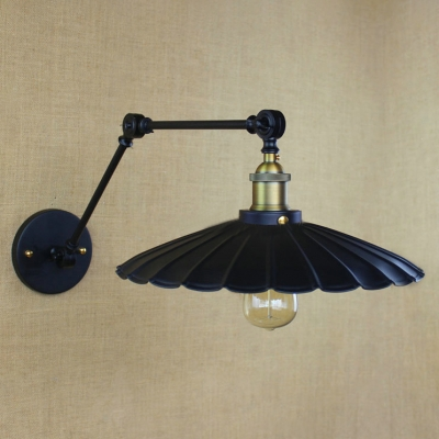 Adjustable Scalloped Wall Light Retro Style Steel Small 1 Bulb Wall Lamp in Antique Brass