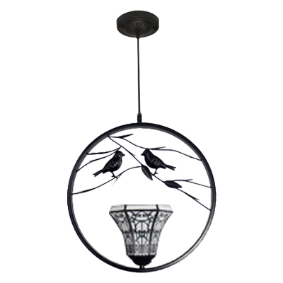 Bell Shade Upward Pendant Light Tiffany Style White Glass 1 Light Hanging Lamp with 2 Birds