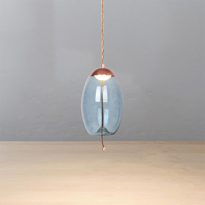 Blue Glass Pendant Light Nordic Style Copper Finish Led Hanging Lamp