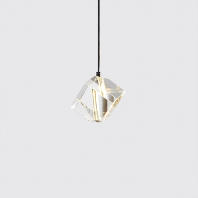 Crystal Diamond Hanging Light Fixtures Modern Simple Style Chrome Finish Single Pendant for Bar Restaurant