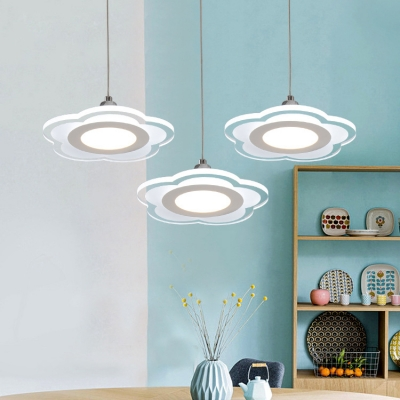Flower Shape Hanging Pendant Modern Style Acrylic Panels Pendant Fixture for Dining Room