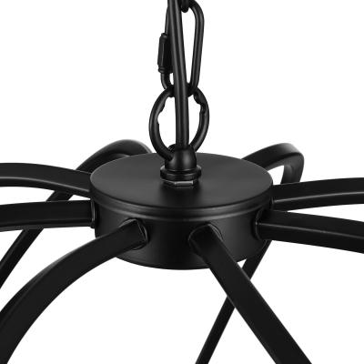 Industrial Wrought Iron 8 Light Large Globe Shade LED Pendant Chandelier