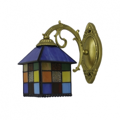 Lantern Shade Mosaic Wall Lamp Tiffany Style Stained Glass Decorative Wall Sconce